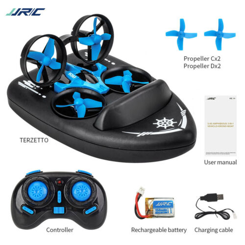 3 in 1 Mini RC Drone Boat 4CH for Kids Children 6-Axis Toy with 360 Flips
