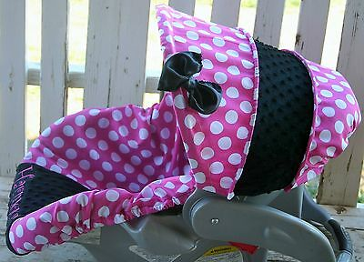 infant//toddler seat strap covers grey and white chevron and light pink minky