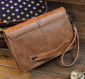 Details about Mens Leather Clutch Wrist Bag Vintage Casual Handbag  Organizer Briefcase Wallet