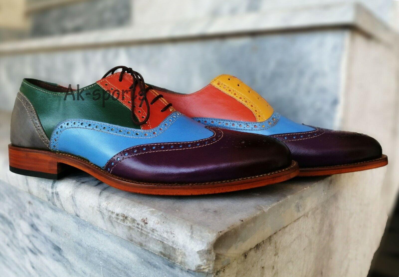 Multi Couleur Oxford Bout D'Aile chaussures en cuir, hommes Robe Formelle chaussures en cuir chaussures