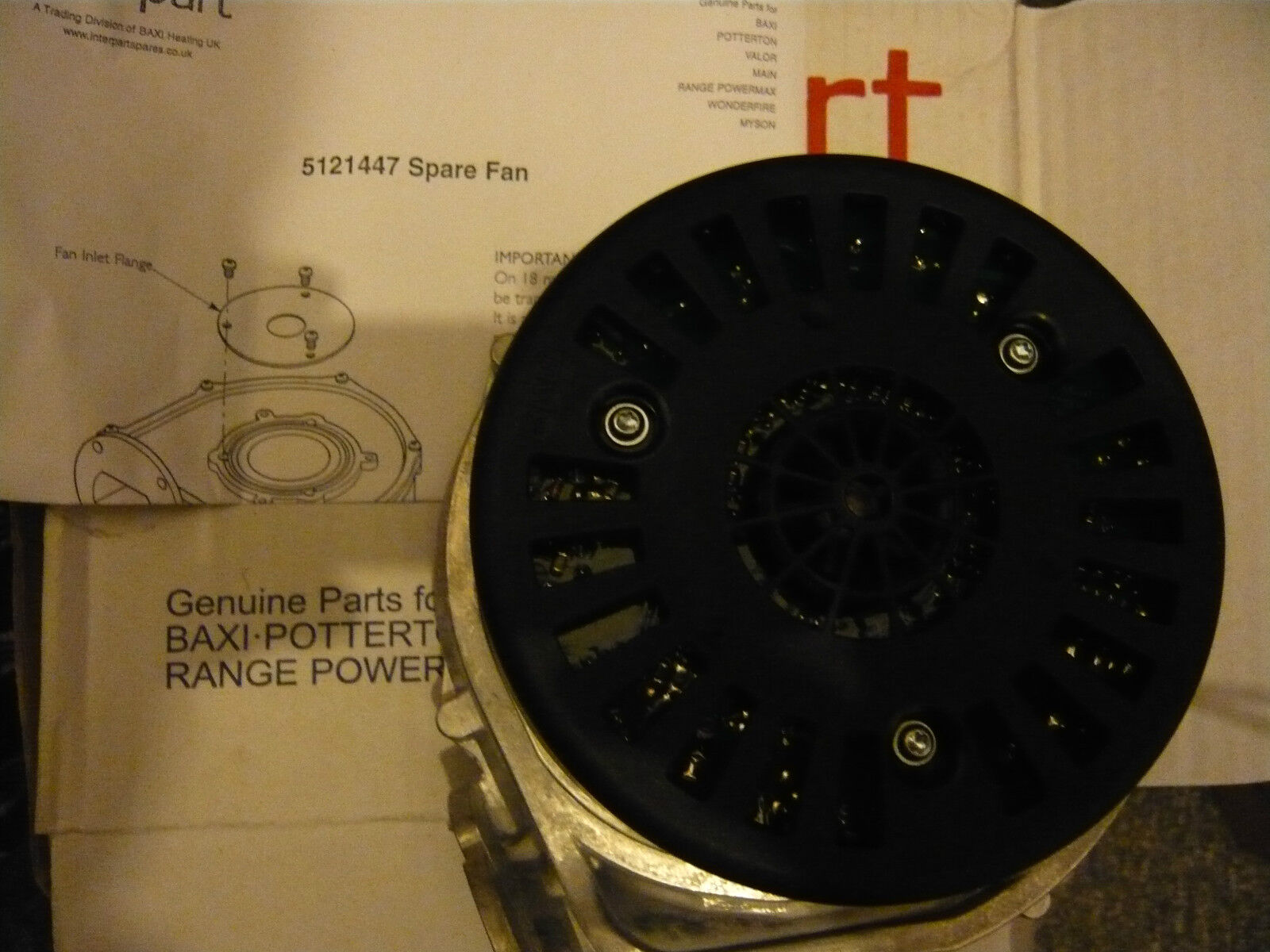 Potterton Promax or & Baxi Duotec platine 24HE, 28HE, 33HE, 40HE Ventilateur 5121447