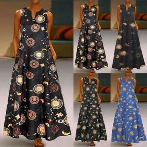 Woman-Sleeveless-Maxi-dress-Sun-Moon-Stars-astronomical-Printed-Pocket-dress