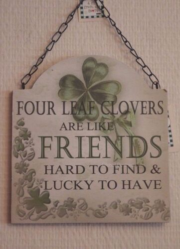 """Wall Plaque Lucky Four Leaf Clovers Are Like Friends Wood Sign Green 11/"""" SG1865"""