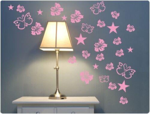 """Mural Fleur /""""Hibiskus étoiles/"""" salon deco papillons"""
