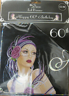 9ft Pink Glitz Happy 60th Birthday Foil Banner Ladies 60 Party Decoration Silver