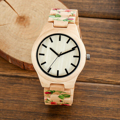 WOODFISH Women Cute Wood Watches Wooden Printing Flower Analog Quartz Wristwatch