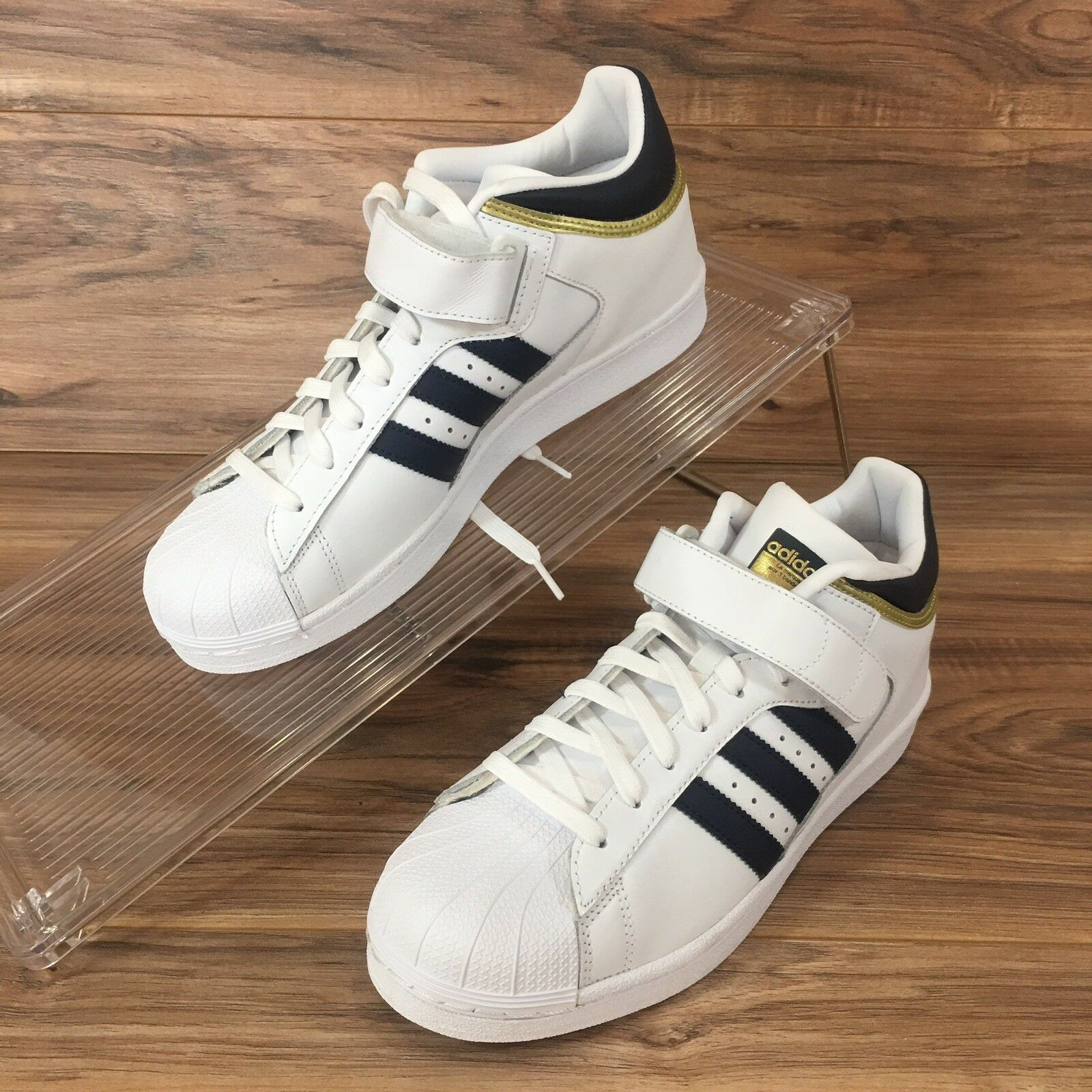 Adidas Pro Shell Mens Mens Mens BY4383 White Collegiate Navy gold Leather shoes Size 8.5 f3df9b