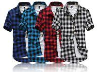 Mens Short Sleeve Summer Button Down Check Plaid Shirts M - 2XL Cotton Blend New