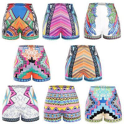 Women 3D Printed Sexy Slim Pants Summer Casual Back Zip High Waist Beach Shorts