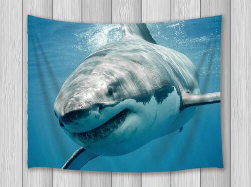 3D Great White Shark Tapestry Wall Hanging Bedroom Living Room Dorm Blankets