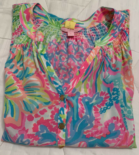 Lilly Pulitzer ~LOVERS CORAL~ XL ELSA Silk BLOUSE