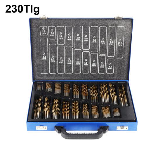 Bohrerset 230 tlg TITAN HSS Metallbohrer Spiralbohrer Holzbohrer 1-10mm