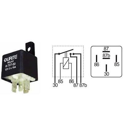 Durite - Relay Mini Make/Break Double Contact 2 x 25 amp 12 volt Cd1 - 0-727-22