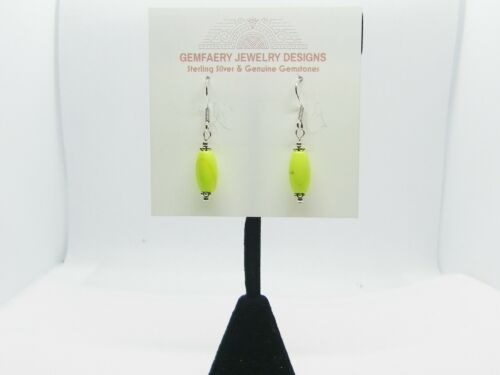 Details about  /RARE Sterling Silver Natural GASPEITE Gemstone Dangle Earrings...Handmade USA