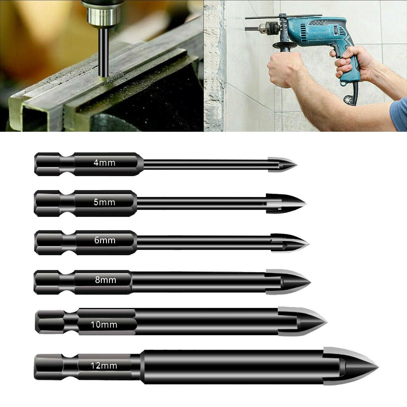 6xPorcelain Tile Mirror Glass Ceramic Drill Bits Set 4/5/6/8/10/12mm Spear Heads