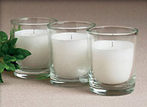 36-White-Wax-Glass-Holder-Wedding-Event-Party-Table-Decoration-Votive-Candle