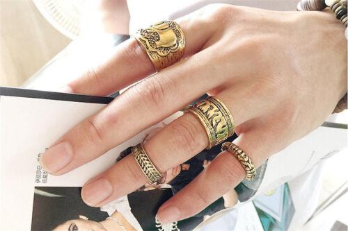 15pcs//lot Vintage Bohemian Crystal Flower Retro Silver Gold Boho Finger Ring Set