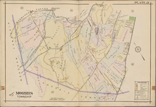 1910 MORRIS TOWNSHIP NEW JERSEY DELBARTON SCHOOL WASHINGTON VALLEY STA ATLAS MAP