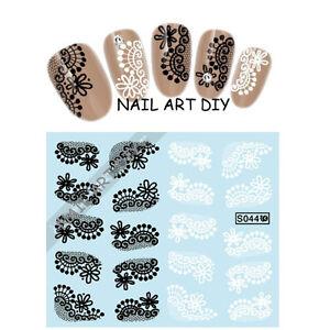 Adesivi-per-unghie-con-Pizzo-Nero-Bianco-Nail-Art-water-transfer-Stickers-Decals
