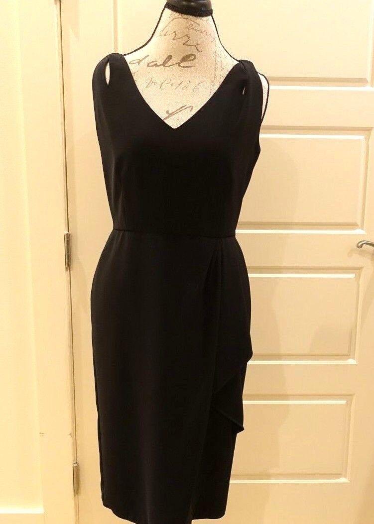 Lafayette 148 - Sleeveless schwarz faux wrap dress in Größe 6