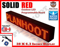 Red - 38x6.3 Led Programmable Scrolling Sign - Outdoor (100% Water Proof)