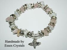 ROSE QUARTZ & Moonstone Gemstone Crystal Fertilità & Love Bracciale
