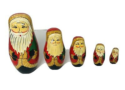 cheap4uk 5 Pcs Christmas Wooden Russian Nesting Dolls Santa Claus Matryoshka Red Xmas Theme Handmade Wooden Dolls Russian Traditional Dolls Children Toy Gifts Doll Set For Home Office Decoration
