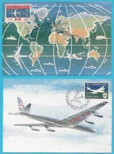 Niederlande-aus-1959-MiNr-737-738-Maximumkarte-KLM-Flugzeug