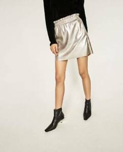 NEW Zara Knitwear Collection Faux Leather Mini Skirt Gray Silver Small Large