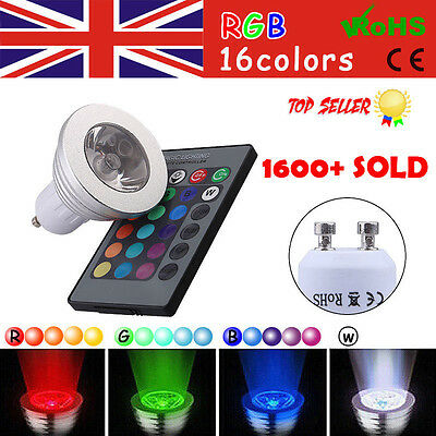 4 X GU10 4W 16 Colors Changing RGB Dimmable LED Light Bulbs Lamp Remote 85-265V