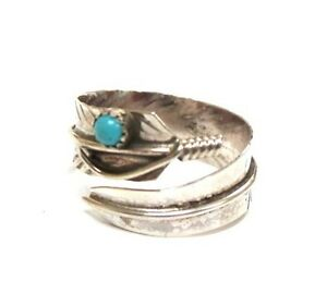 Navajo-Turquoise-Sterling-Silver-Feather-Adjustable-Women-039-s-Ring-Charley
