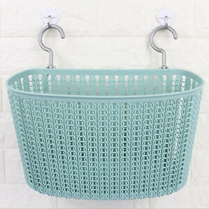 Details About Rectangle Plastic Woven Baskets Hamper Home Office Bathroom Storage Blue