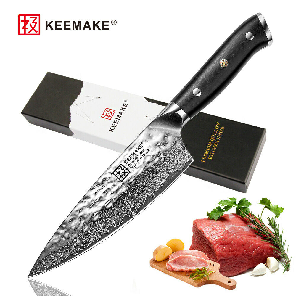 6.5  inch Damascus Chef's Knife Japanese AUS-10 Steel Kitchen Knives G10 Handle