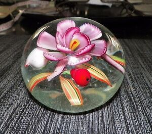 VENEZIA-MURANO-FLORAL-ART-GLASS-PAPERWEIGHT-ITALY-3-034-TALL