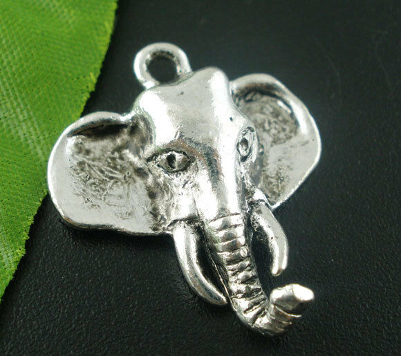 50 PCs Silver Tone Elephant Charms Pendants Findings