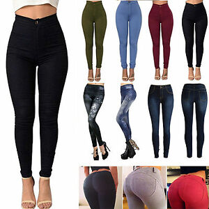 Womens-High-Waist-Slim-Stretch-Jeans-Denim-Skinny-Ripped-Pencil-Pants-Trousers