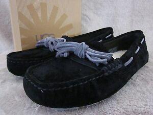 UGG-Australia-Womens-Meena-Suede-Black-Bow-Moccasin-Slipper-Shoes-US-6-EU-37-NWB