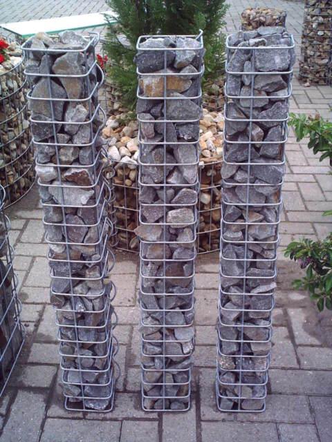 2er Set verschiedene Höhen 33 Ø cm Gabionen Steinkörbe Gabionensäulen rund