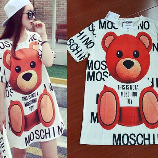 Harajuku Cute Fashion Women Tactic Bear Letter Stamp Loose Long TEE T-shirt