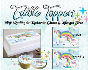 Image Is Loading Unicorn Rainbow Birthday Cake Topper Edible Paper Sugar