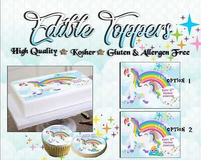 Stupendous Unicorn Rainbow Birthday Cake Topper Edible Paper Sugar Sheet Funny Birthday Cards Online Elaedamsfinfo