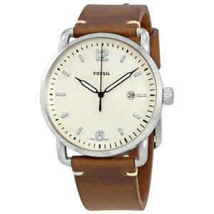 310e1425cb44 Fossil The Commuter Silver Dial Brown Leather Men s Watch FS5275 ...