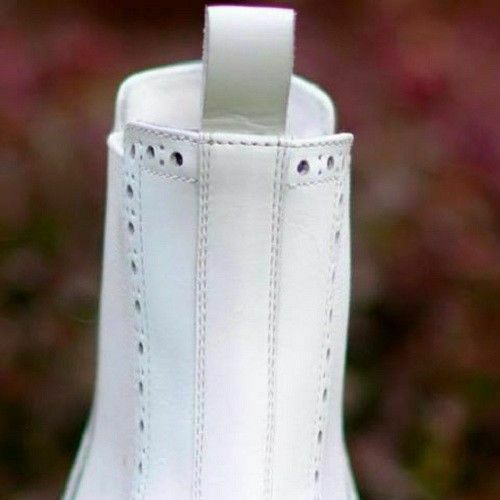Mens Handmade Handmade Handmade stivali bianca Leather Chelsea Brogue Formal Wear Casual Dress scarpe 4035f0