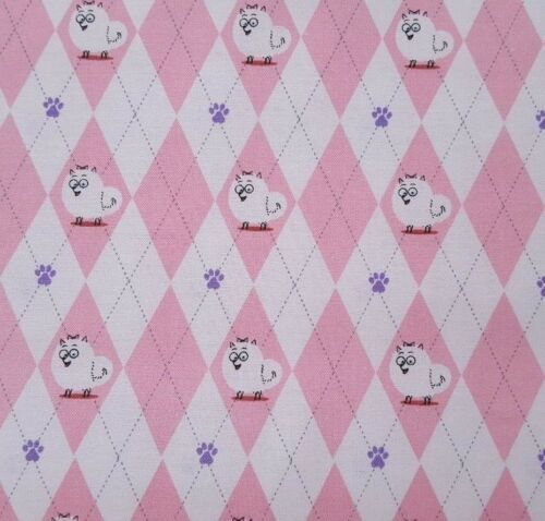 Secret Life Of Pets BTY Quilting Treasure Cats Pink White Argyle