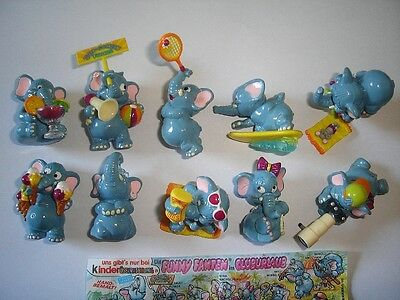 KINDER SURPRISE SET - FUNNY FANTEN BEACH ELEPHANTS 1995 - FIGURES COLLECTIBLES !