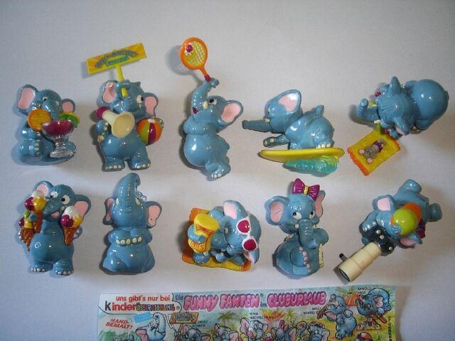 KINDER SURPRISE SET - FUNNY FANTEN BEACH ELEPHANTS 1995 - FIGURES COLLECTIBLES !