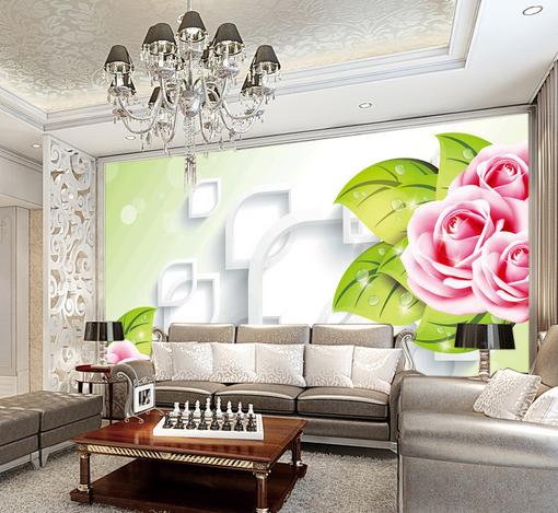 3D Leaves Rose 654 Wallpaper Murals Wall Print Wallpaper Mural AJ WALL UK Kyra