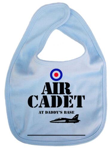 """Funny Baby Bib /""""Air Cadet at Daddy/'s Base/"""" Feeding Boy Girl RAF Airplane Pilot"""