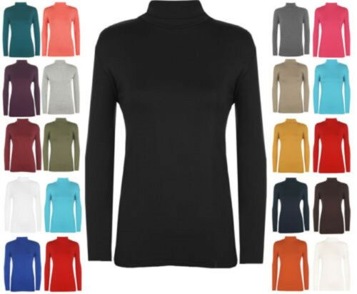 Kids Boys Girls Polo Neck Jumper Top Roll Neck Long Sleeved Tops 7-13 Years