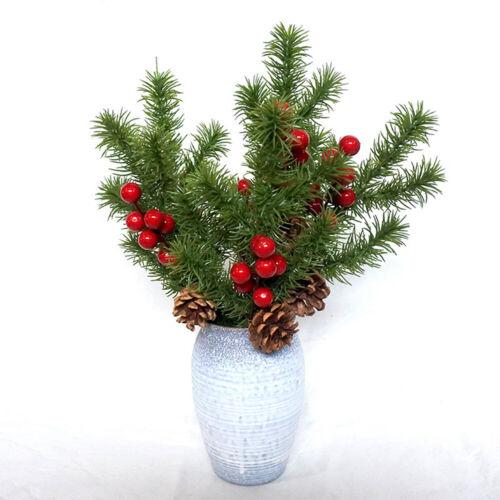 Christmas Artificial Berry Pine Cone Branch Bouquet Fake Flower Home Tree Decor